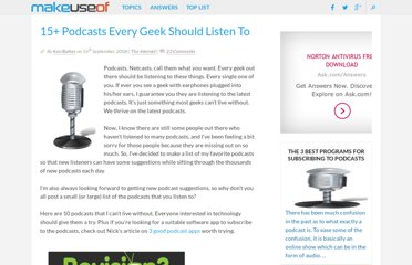 http://www.makeuseof.com/tag/15-podcasts-every-geek-should-listen-to/