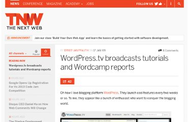 http://thenextweb.com/2009/01/17/wordpresstv-broadcasts-tutorials-and-wordcamp-reports/