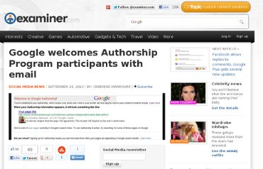 http://www.examiner.com/article/google-welcomes-authorship-program-participants-with-email