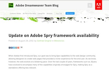 http://blogs.adobe.com/dreamweaver/2012/08/update-on-adobe-spry-framework-availability.html
