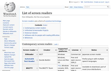 http://en.wikipedia.org/wiki/List_of_screen_readers