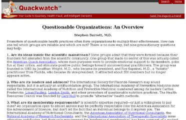 http://www.quackwatch.org/04ConsumerEducation/nonrecorg.html