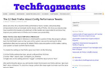 http://www.techfragments.com/481/the-12-best-firefox-aboutconfig-performance-tweaks/