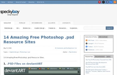 http://speckyboy.com/2008/05/10/14-amazing-free-photoshop-psd-resource-sites/