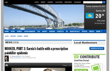 http://www.theobserver.ca/2011/12/09/hooked-part-3-sarnias-battle-with-a-prescription-painkiller-epidemic#.TuJ3jnEekeM.facebook