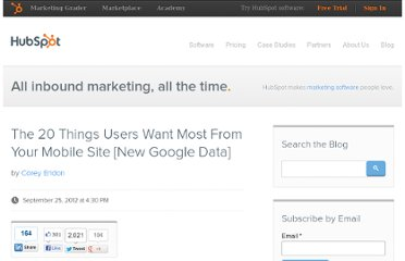 http://blog.hubspot.com/blog/tabid/6307/bid/33631/The-20-Things-Users-Want-Most-From-Your-Mobile-Site-New-Google-Data.aspx