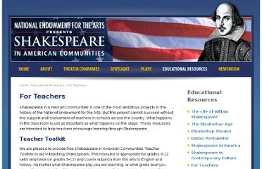 http://www.shakespeareinamericancommunities.org/education/for-teachers