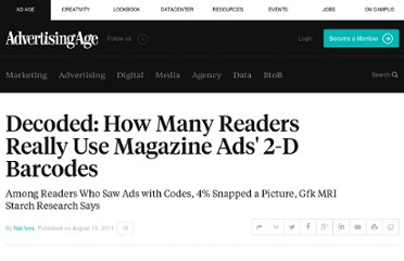 http://adage.com/article/media/decoded-readers-magazine-ads-2-d-barcodes/229256/