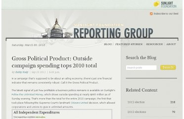 http://reporting.sunlightfoundation.com/2012/gross-political-product-outside-campaign-spending-tops-2010-tota/