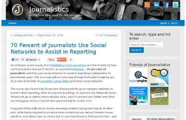 http://blog.journalistics.com/2009/70-percent-of-journalists-use-social-networks-to-assist-in-reporting/