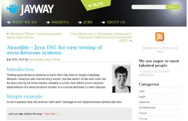 http://www.jayway.com/2010/07/20/awaitility-java-dsl-for-easy-testing-of-asynchronous-systems/