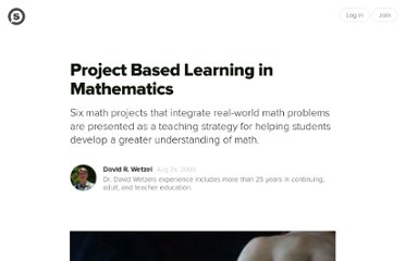http://suite101.com/article/project-based-learning-in-mathematics-a142678