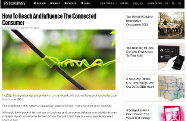 http://www.fastcompany.com/1808790/how-reach-and-influence-connected-consumer