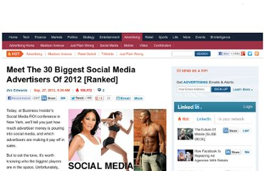 http://www.businessinsider.com/the-30-biggest-social-media-advertisers-of-2012-2012-9?op=1