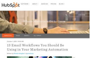 http://blog.hubspot.com/blog/tabid/6307/bid/33635/12-Automated-Email-Workflows-You-ll-Kick-Yourself-For-Not-Using.aspx