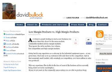 http://www.davidbullock.com/low-margin-products-vs-high-margin-products/