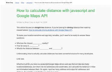 http://briancray.com/posts/how-to-calculate-the-distance-between-two-addresses-with-javascript-and-google-maps-api/