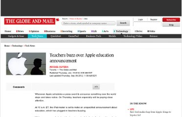 http://www.theglobeandmail.com/technology/tech-news/teachers-buzz-over-apple-education-announcement/article1358956/