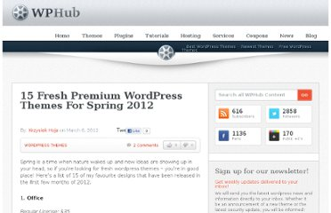 http://www.wphub.com/fresh-wordpress-themes-spring-2012/