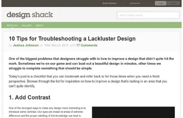 http://designshack.net/articles/layouts/10-tips-for-troubleshooting-a-lackluster-design/