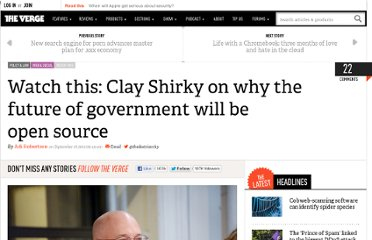 http://www.theverge.com/2012/9/27/3416800/clay-shirky-internet-government-talk