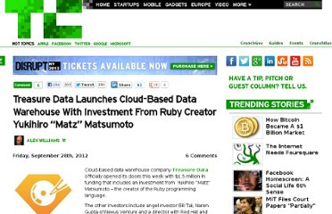 http://techcrunch.com/2012/09/28/treasure-data-launches-cloud-based-data-warehouse-with-investment-from-ruby-creator-yukihiro-matz-matsumoto/