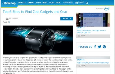 http://mylifescoop.com/2011/07/05/top-6-sites-to-find-cool-gadgets-and-gear/