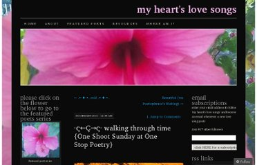 http://myheartslovesongs.com/2011/01/30/walking-through-time-one-shoot-sunday-at-one-stop-poetry/