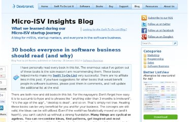 http://www.dextronet.com/micro-isv-insights/30-books-everyone-in-software-business-should-read-and-why/