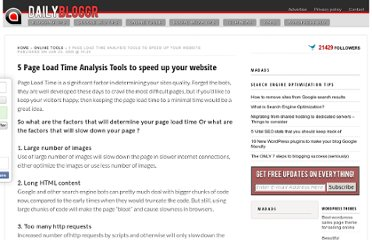 http://www.dailybloggr.com/2009/06/5-page-load-time-analysis-tools-to-speed-up-your-pages/