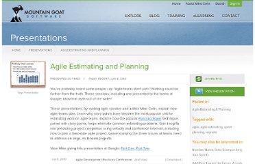 http://www.mountaingoatsoftware.com/presentations/agile-estimating-and-planning