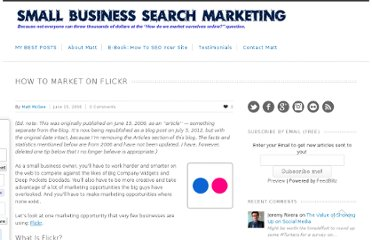 http://www.smallbusinesssem.com/how-to-market-on-flickr/6031/