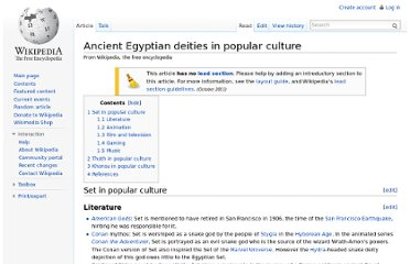 http://en.wikipedia.org/wiki/Ancient_Egyptian_deities_in_popular_culture