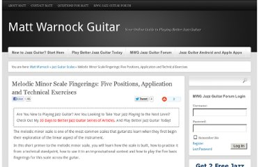 http://www.mattwarnockguitar.com/melodic-minor-scale-fingerings-five-positions-application-and-technical-exercises