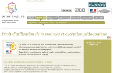 http://www.primlangues.education.fr/references/textes-officiels/droit-dutilisation-de-ressources-et-exception-pedagogique