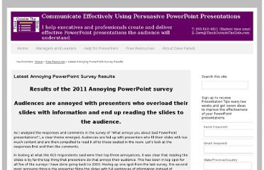 http://thinkoutsidetheslide.com/free-resources/latest-annoying-powerpoint-survey-results/