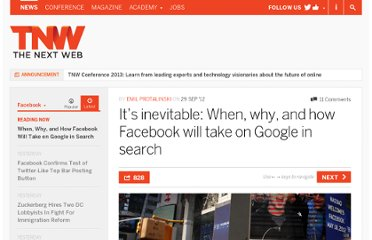 http://thenextweb.com/facebook/2012/09/29/its-inevitable-when-why-facebook-will-take-google-search/