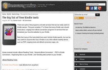 http://www.freewaregenius.com/the-big-list-of-free-kindle-tools/