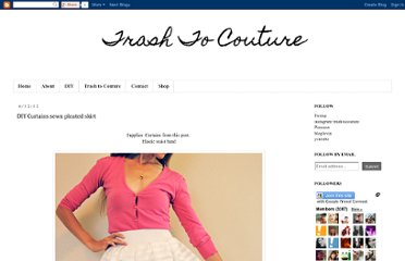 http://www.trashtocouture.com/2012/06/diy-curtains-sewn-pleated-skirt.html