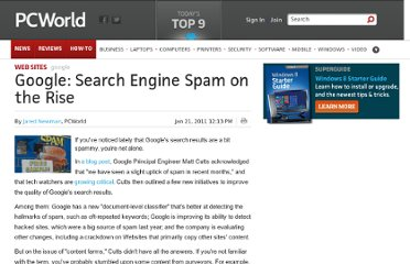 http://www.pcworld.com/article/217370/Google_Search_Engine_Spam_on_the_Rise.html