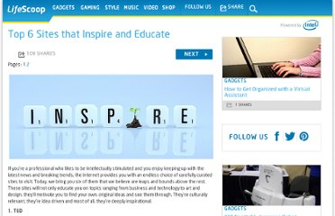 http://mylifescoop.com/2011/05/16/top-6-sites-that-inspire-and-educate/