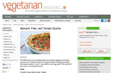 http://www.vegetariantimes.com/recipe/spinach-feta-and-tomato-quiche/