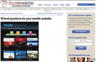 http://socialmedia.biz/2012/05/31/10-best-practices-for-your-mobile-website/