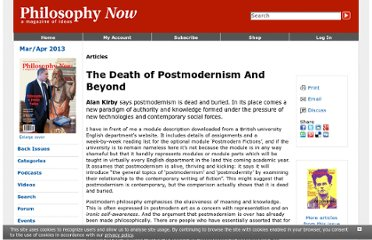 http://philosophynow.org/issues/58/The_Death_of_Postmodernism_And_Beyond