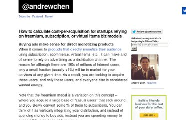 http://andrewchen.co/2008/11/17/how-to-calculate-cost-per-acquisition-for-startups-relying-on-freemium-subscription-or-virtual-items-biz-models/