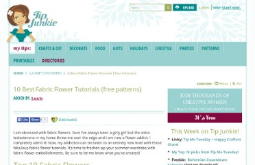 http://www.tipjunkie.com/favorites/fabric-flower-tutorials/