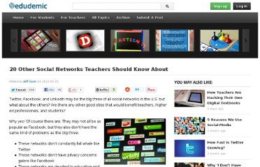 http://edudemic.com/2010/06/20-other-social-networks-teachers-should-know-about/