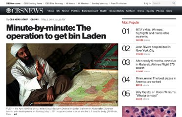 http://www.cbsnews.com/8301-503543_162-20058792-503543/minute-by-minute-the-operation-to-get-bin-laden/