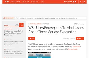 http://thenextweb.com/insider/2010/05/07/wsj-uses-foursquare-to-alert-users-about-times-square-evacuation/