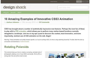 http://designshack.net/articles/css/10-amazing-examples-of-innovative-css3-animation/